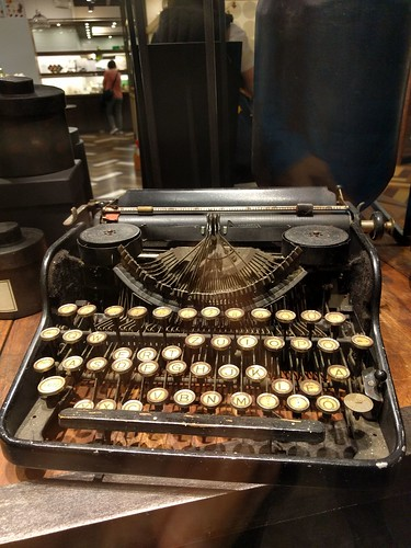 Batterred typewriter in Taipei, Taiwan