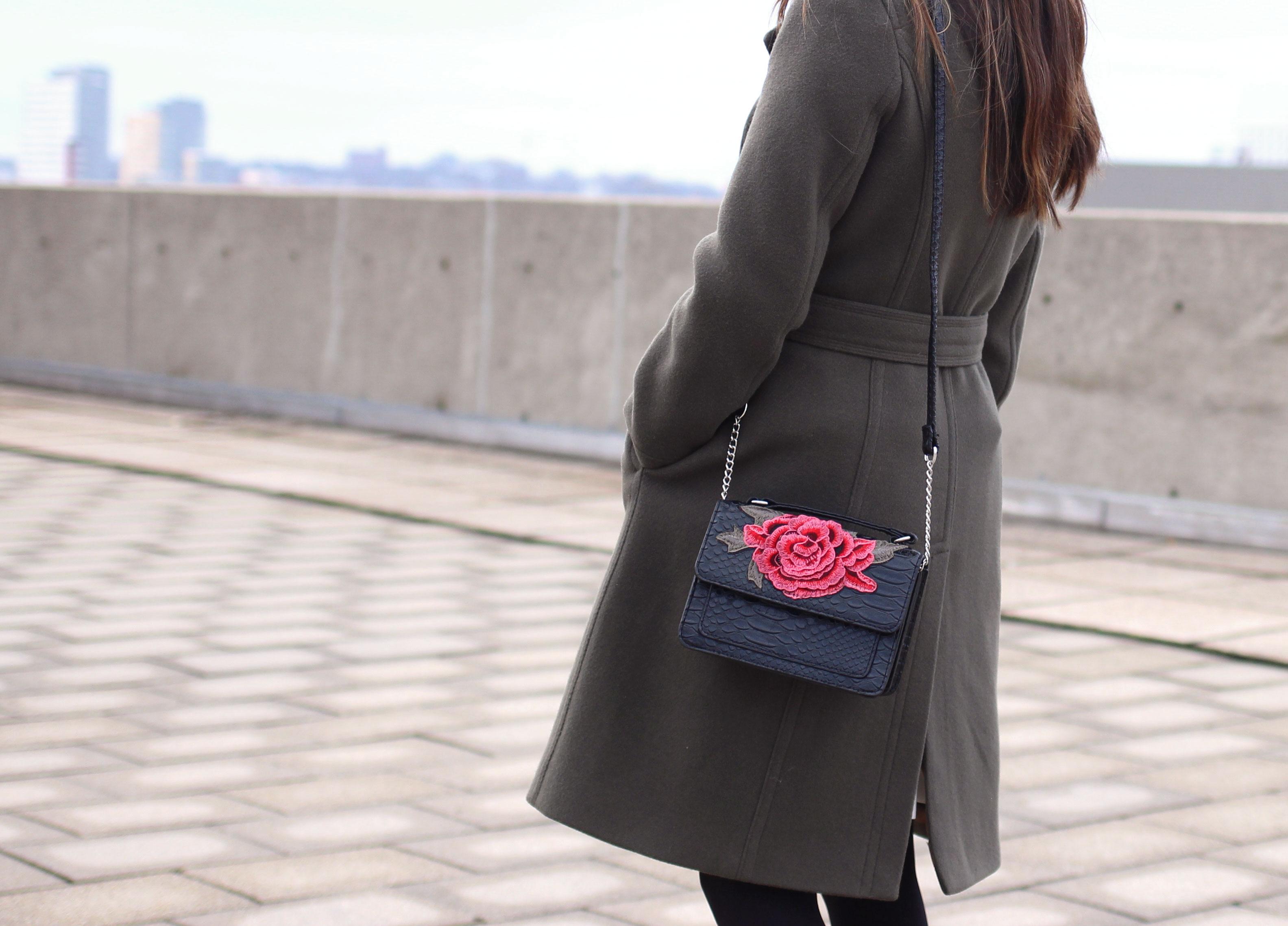 Rose floral applique leather bag
