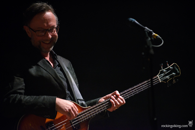 Bassist Colin Elliot performing with Richard Hawley at Sheffield City Hall on December 5, 2016