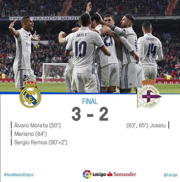 La Liga (Jornada 15): Real Madrid 3 - Deportivo de la Coruña 2