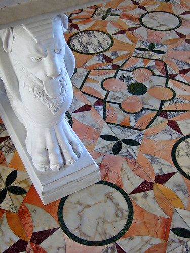 The stone-inlaid floor in the reproduced triclinium (dining room) at the Getty Villa imitates the floor from the House of the Deer in Herculaneum | by mharrsch
