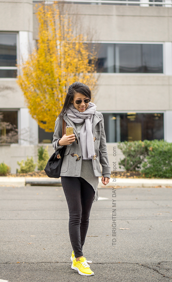gray scarf, gray toggle duffle coat, gray asymmetric top, black skinny jeans, yellow sneakers