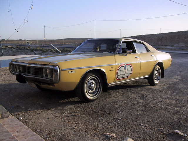Beautiful old American muscle car, Dodge operating as a service taxi between Amman, Jordan and Damascus, Syria
