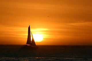 Sunset near Cape Town with sailboat | by Derek Keats