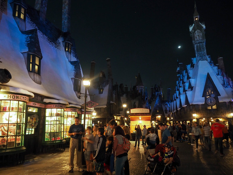 Hogsmeade at night at the Wizarding World of Harry Potter