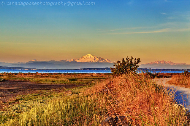 Mt. Baker with Centennial Beach at sunset