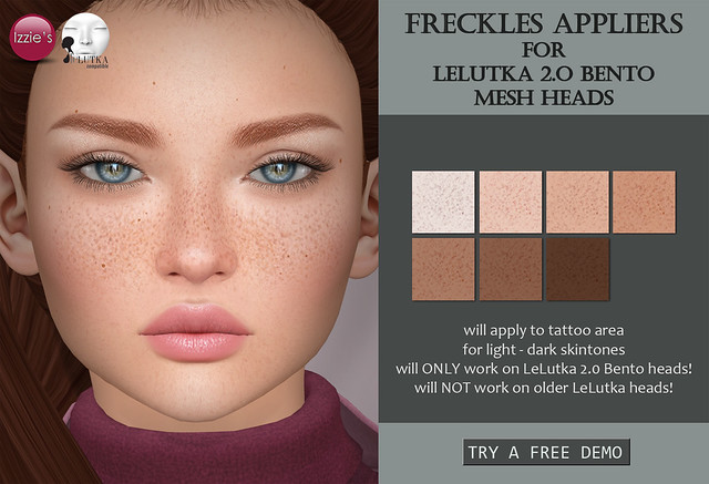 Freckles Appliers for LeLutka 2.0 Bento mesh heads