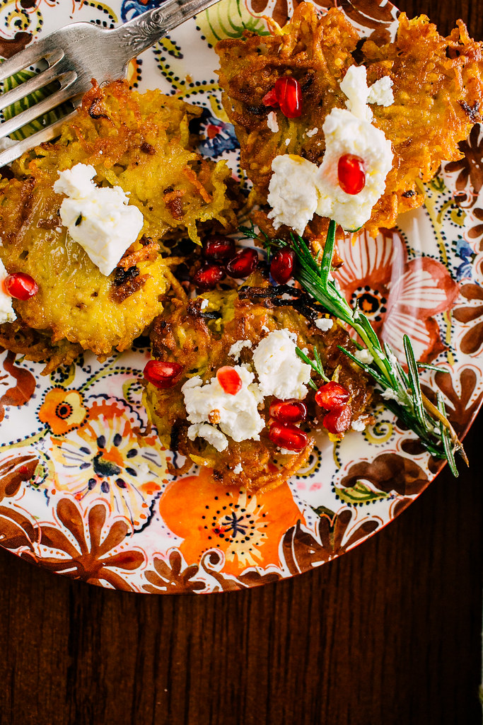 Saffron Latkes with Herbed Feta and Pomegranate