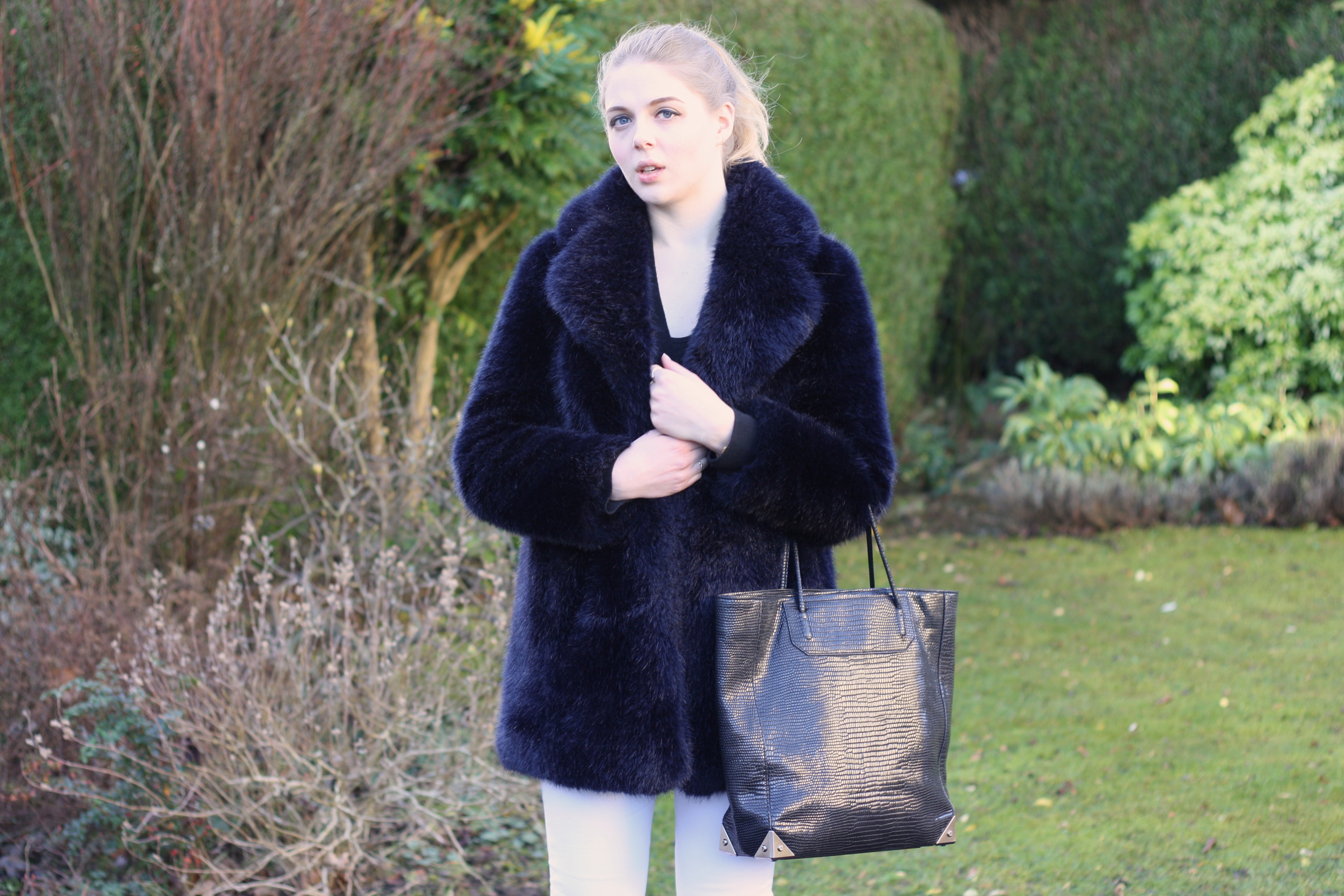 Whistles navy faur fur coat, Alexander Wang black Prisma tote and Topshop white Jamie jeans