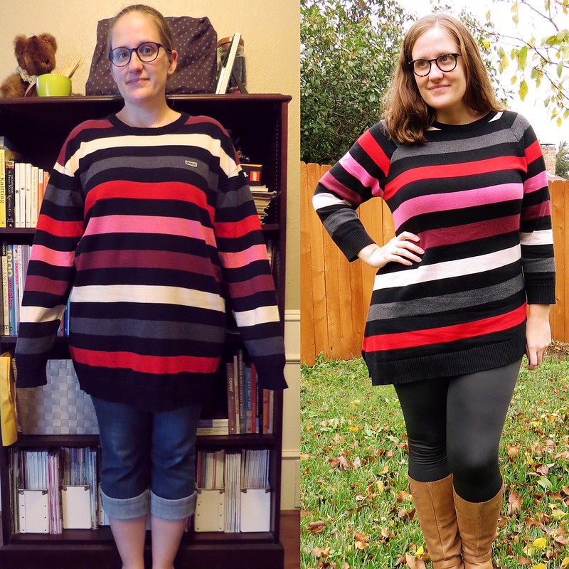 Asymmetric Striped Sweater - Before & After