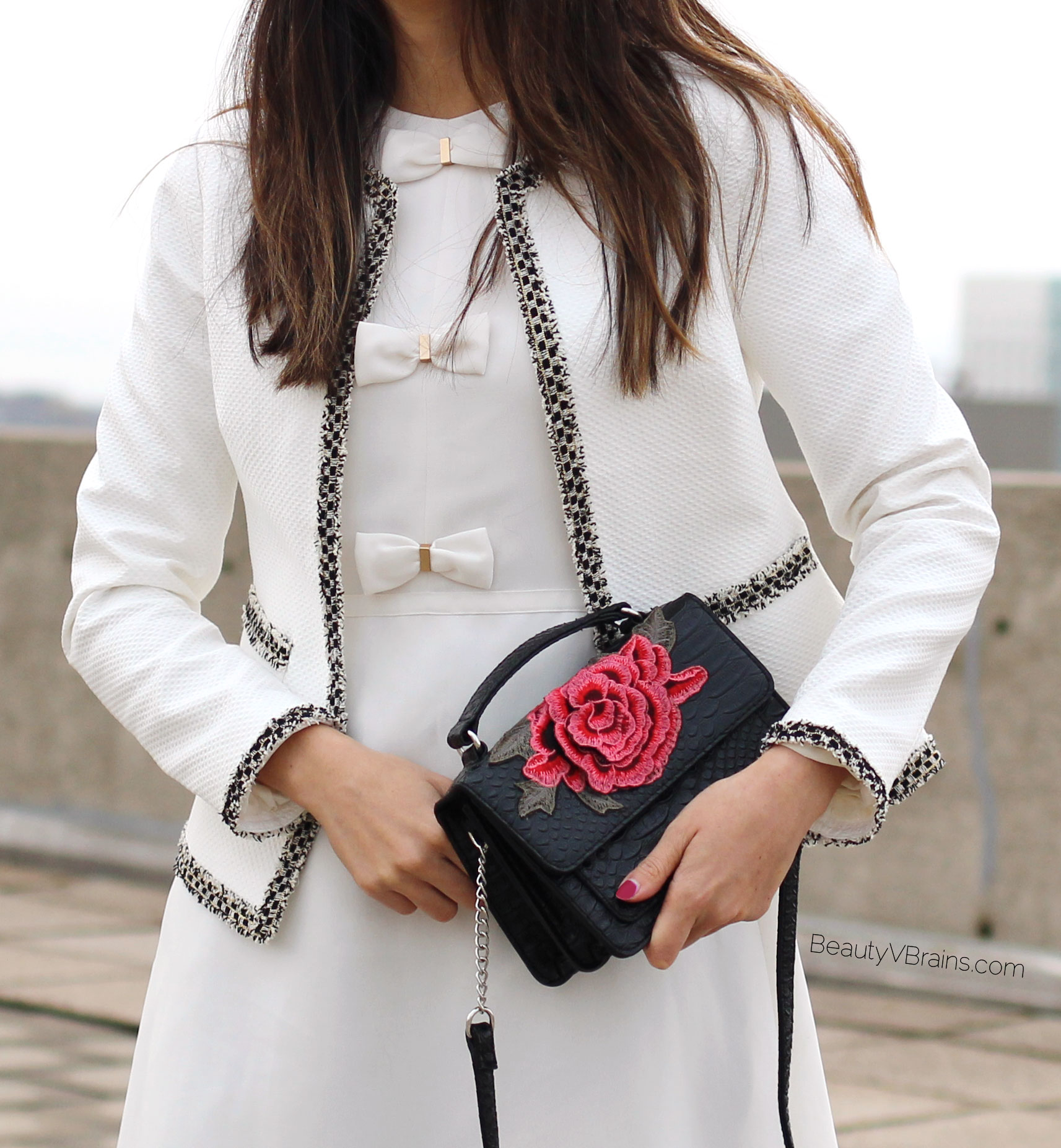 White tweed trim jacket and dress with bow detail