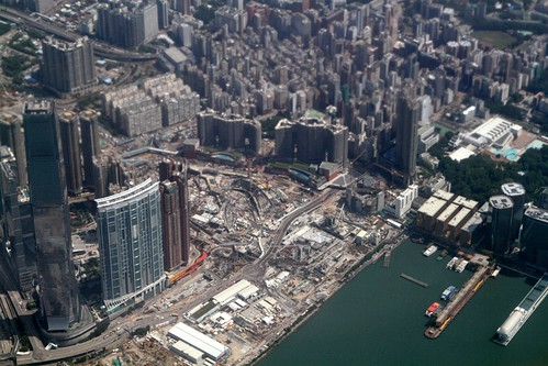 Looking down on the still to be completed West Kowloon Terminus of the Hong Kong Section of Guangzhou–Shenzhen–Hong Kong Express Rail Link (XRL)