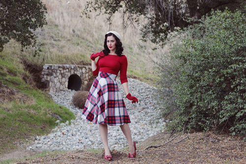 Pinup Girl Clothing Pinup Couture Sabrina Top in Red Eshakti Plaid Circle Skirt Remix Rita Heels in Red