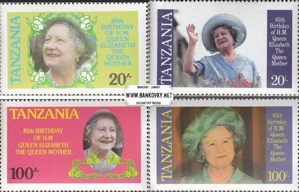 Známky Tanzánia 1985 kráľovna matka, nerazítkovaná séria MNH
