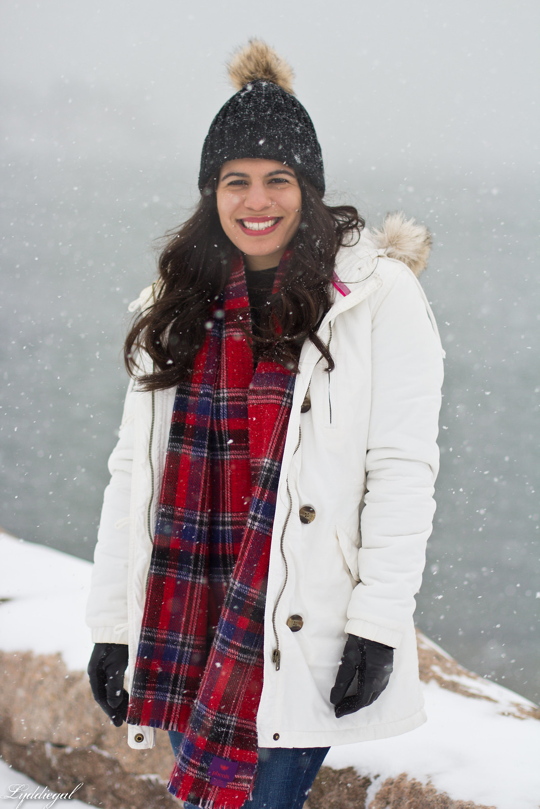 snow outfit, white parka, plaid scarf, pom hat-5.jpg