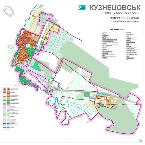 Кузнецовськ - генеральний план (схематичне креслення)