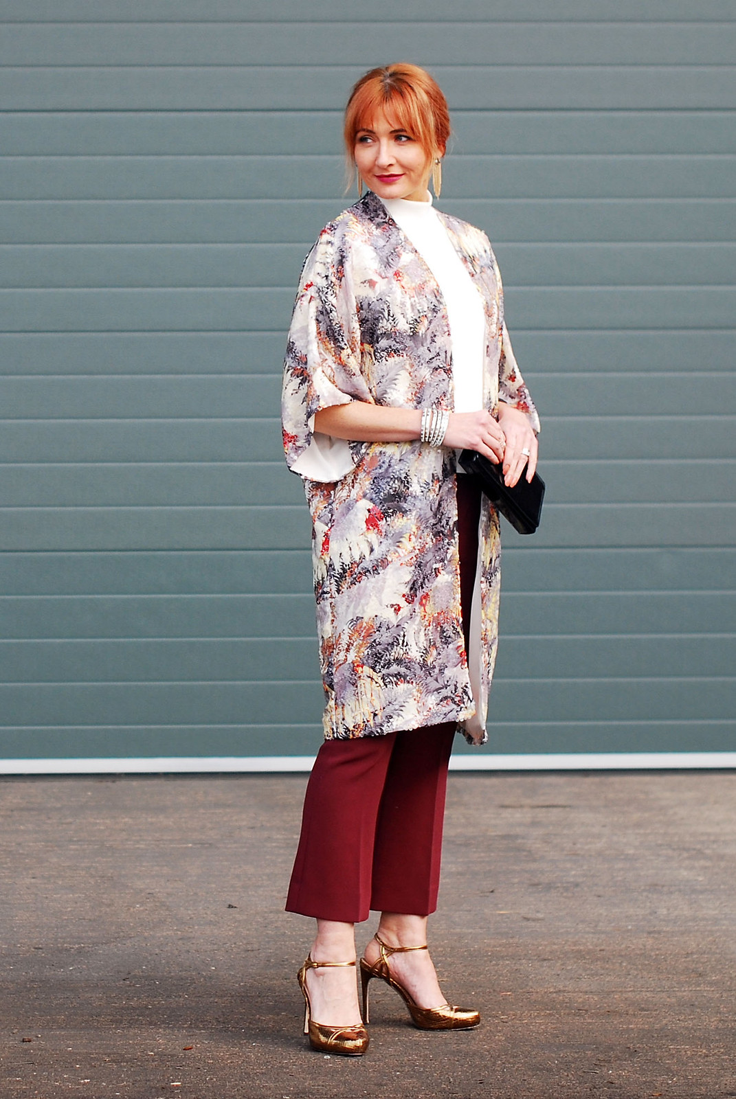 Christmas party outfit \ sequinned palm print kimono \ burgundy cropped flares \ high neck white top \ bronze, gold high heels | Not Dressed As Lamb, over 40 style