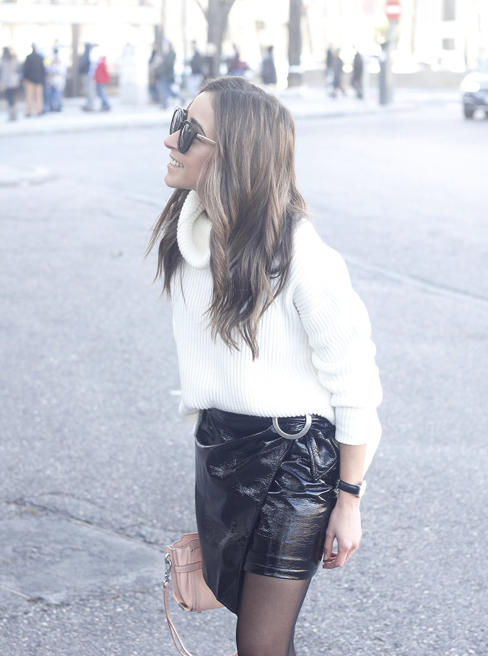 Black Patent leather skirt white sweater coach bag heels outfit style fashion winter15