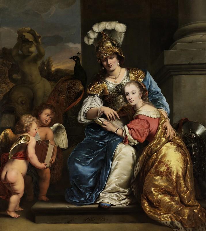 Ferdinand Bol - Margarita Trip die als Minerva haar zuster Anna Maria Trip onderwijst (1663)