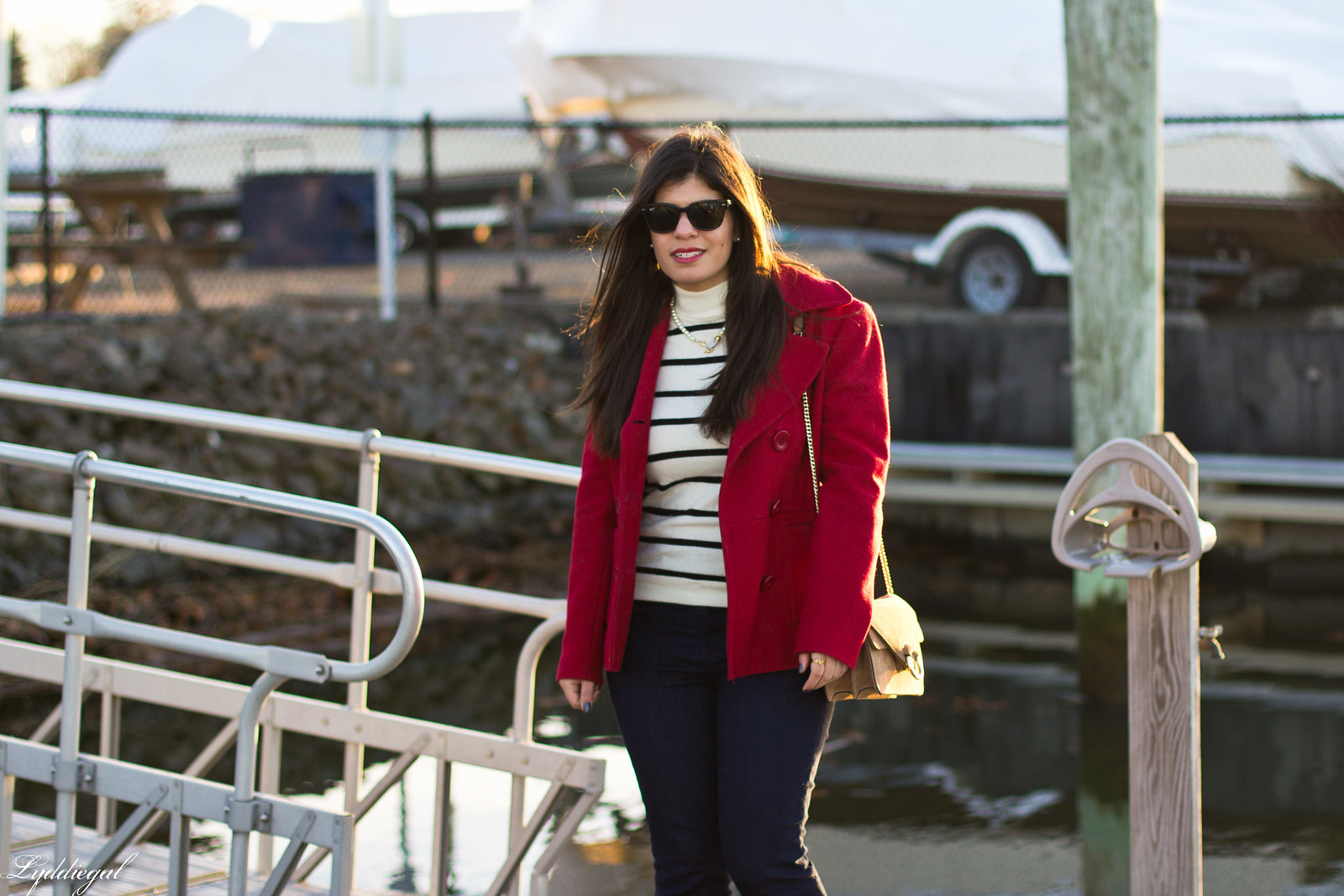 striped sweater, flared denim, red pea coat-1.jpg