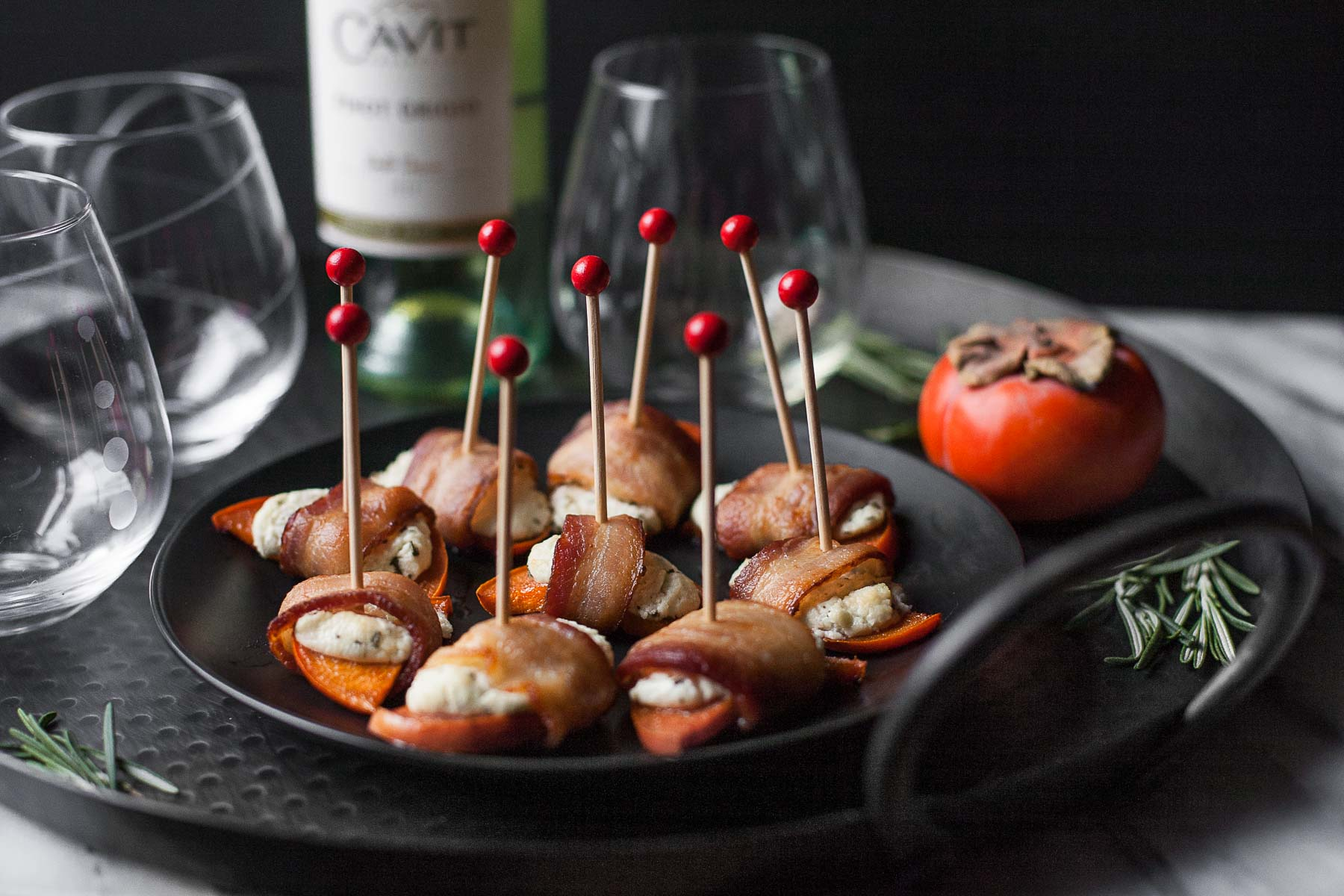Persimmon Bacon Bites with Rosemary Goat Cheese