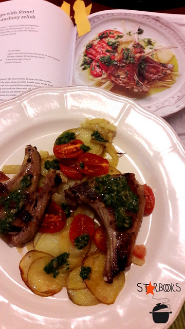 Cotolette di agnello con patate, finocchi e salsa alle acciughe