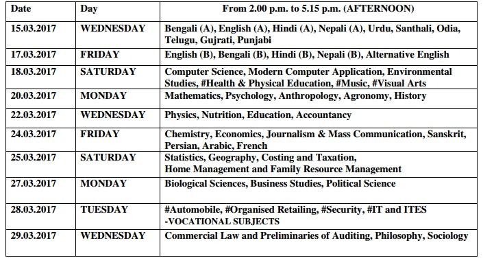 WB Higher Secondary Exam Routine