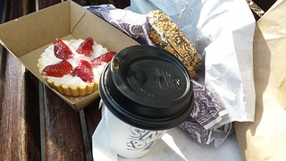 Strawberries and Cream Tart; Everything Bagel with Dill Cream Cheese; Chai from Smith & Deli
