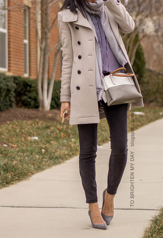 gray wool trench, gray scarf, navy striped button up shirt, colorblocked crossbody bag, black skinny jeans, gray suede pumps