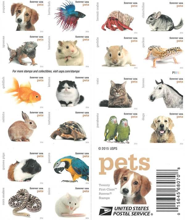 Známky USA 2016 domáce zvieratá, Pets Mint booklet