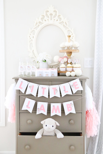 Little lamb baby shower (with Lawn Fawn)