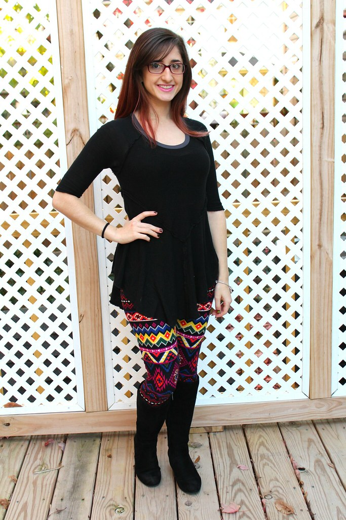 Black patchwork top and colorful tribal leggings
