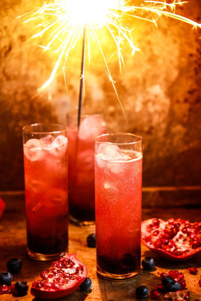 Blueberry Pomegranate Champagne Sparkler from heatherchristo.com