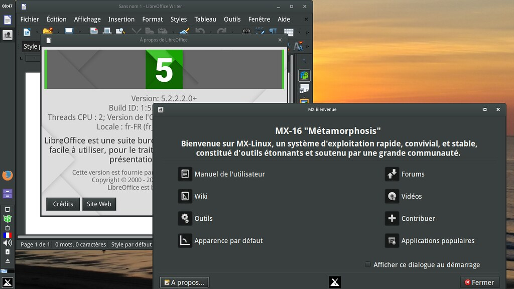 LibreOffice en français avec la MX-16
