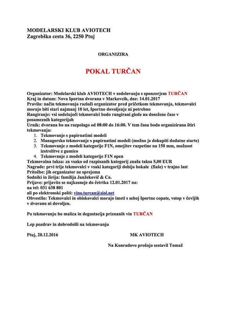 Razpis za pokal Turčan