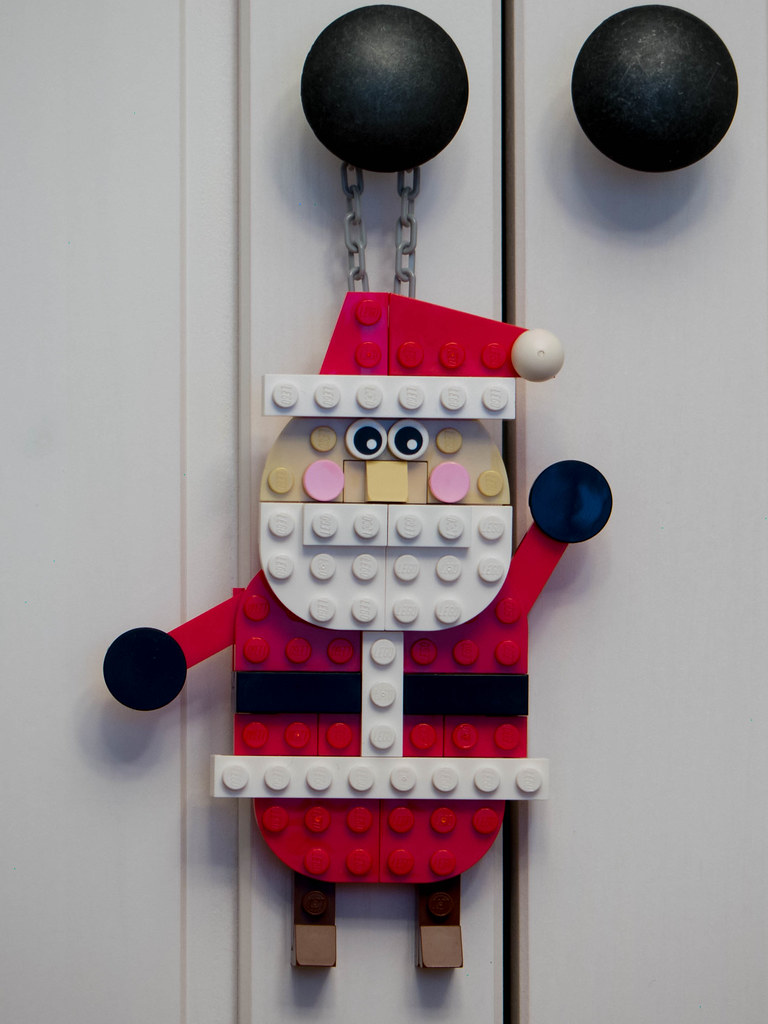 Flat Santa on Doorknob