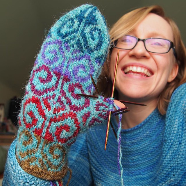 Almost finished with mitten number 1! (Then there's mitten no. 2, plus two linings to knit, but still, progress!)