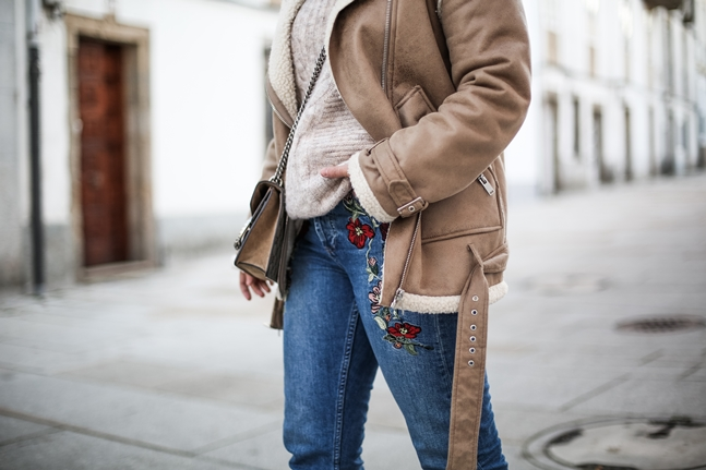 embroidered jeans topshop shearling jacket la redoute streetstyle myblueberrynightsblog