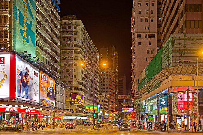 Kowloon's Jordan at night, Image: JohnNsl, CC