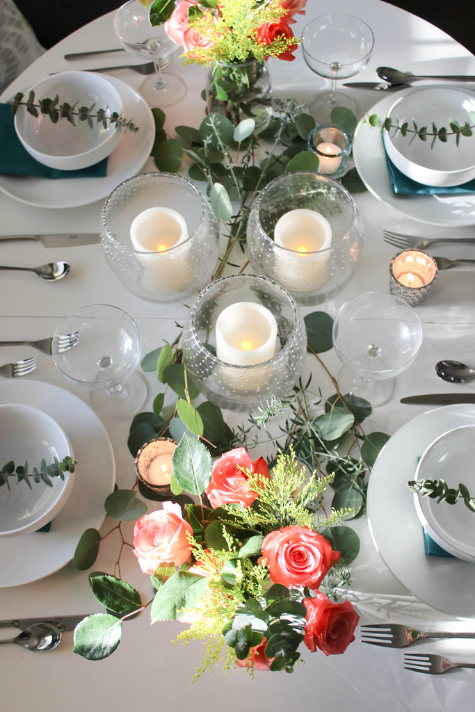 Clean White Table Settings | Fresh Flower and Candle Centerpiece