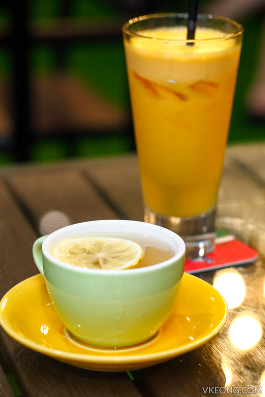 Hot Lemon Tea and Orange Juice