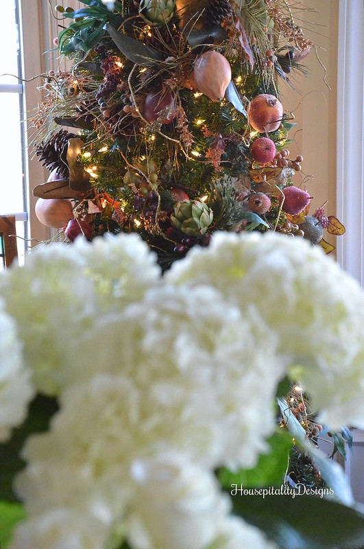 White Hydrangeas-Sugared Fruit Tree-Housepitality Designs