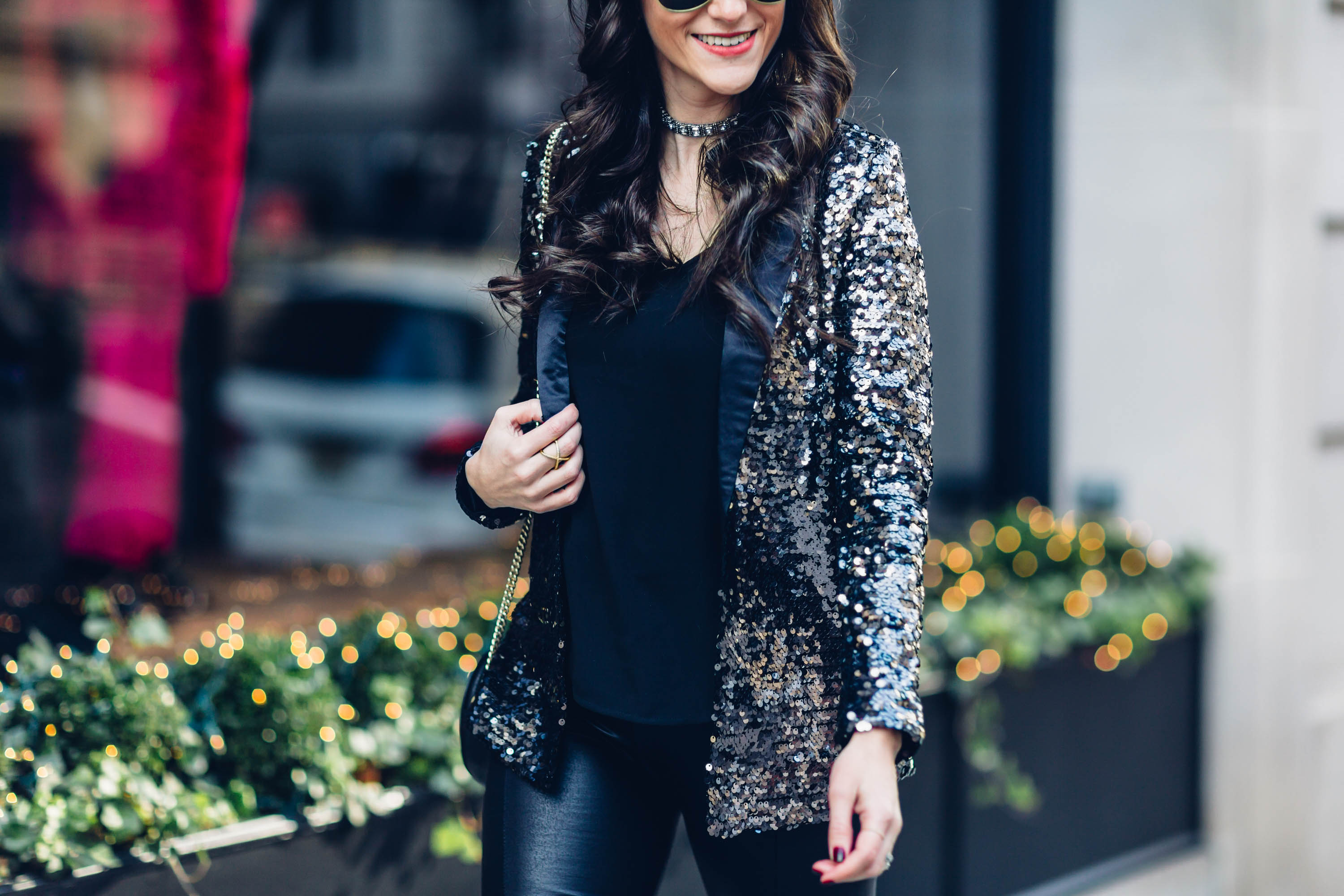 NEW YEARS EVE OUTFIT IDEA WITH A SEQUINS BLAZER