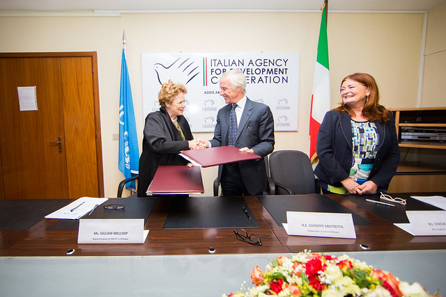 Financial contribution signing ceremony between Italy and UNICEF.