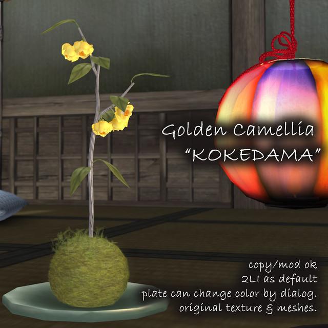 *NAMINOKE*Golden Camellia Kokedama & Fallen Flowers