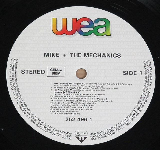 "MIKE + MECHANICS S/T SELF-TITLED 12"" LP VINYL"