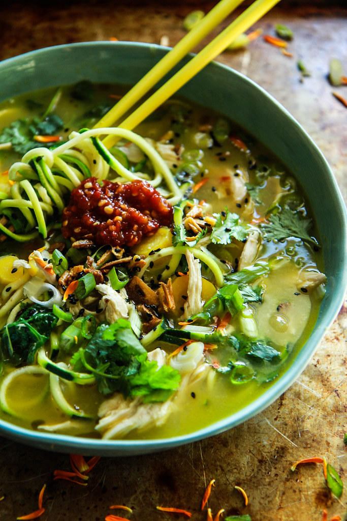 Asian Chicken Zoodle Soup from HeatherChristo.com