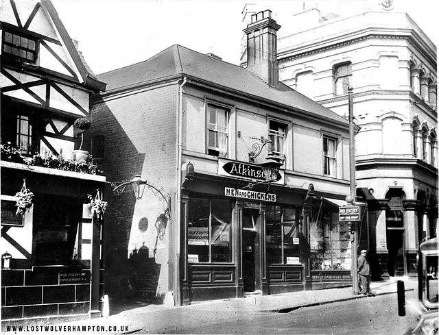 """On the left """"The Swan and Peacock, Ansells, """" The Hen and Chickens, Atkinsons. finally """"The Kings Head Butlers""""."""
