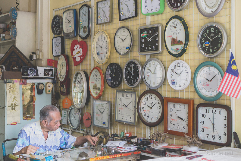 Sungai Lembing watch shop - wall of clocks