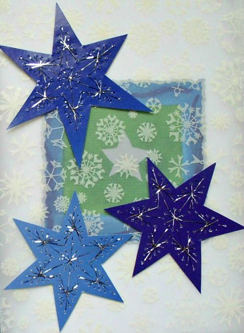 Paper Stitched Stars Card